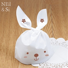 White Rabbit Plastic Cookies Bag Wedding Favor Candy Handmade Soap Food Gift Packaging Bags Free Shipping