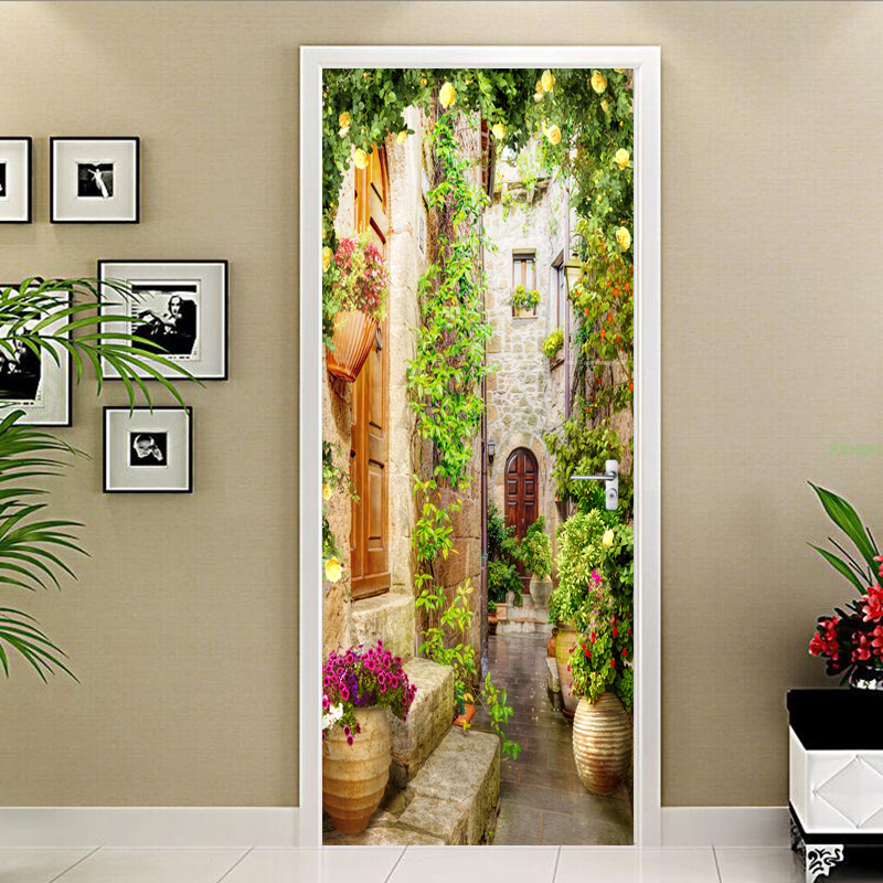 Photo Wallpaper 3D Street Landscape Door Sticker Living Room Bedroom Home Decor Murals PVC Self-Adhesive Waterproof Wall Sticker pentium horse living room bedroom door mural wallpaper sticker pvc self adhesive waterproof wall papers home decor wall painting