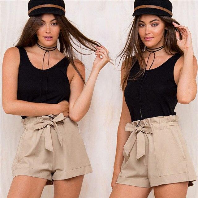Moda mujer Sexy OL Imperio de cintura alta con cordones volantes de algodón sólido pantalones cortos crepé verano Pantalones casuales para la playa 2