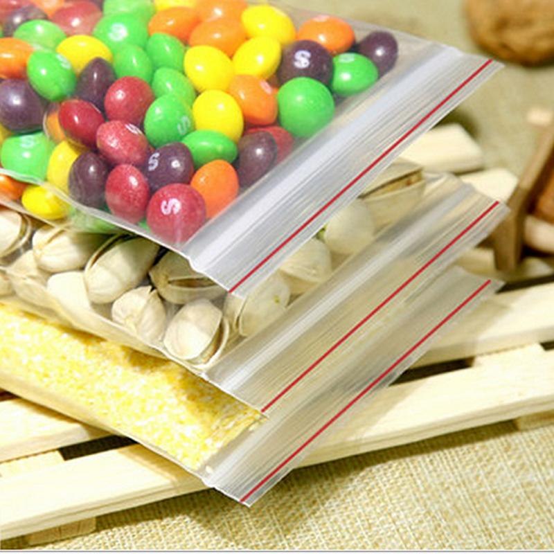 100pcs 4*6cm PE transparent jewelry ziplock reclosable plastic poly bags Food storage bags