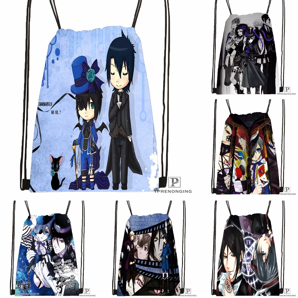 Custom Black Butler (6) Drawstring Backpack Bag Cute Daypack Kids Satchel (Black Back) 31x40cm#180531-03-39