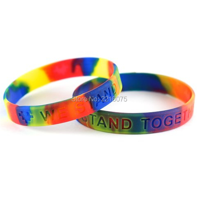 300pcs Swirl Autism Awareness Silicone Wristband Rubber Bracelets Free Shipping By Dhl Express