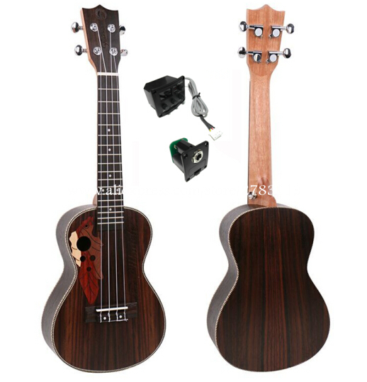 High End 23 inch ukulele With Full Rosewood Top/Body,Super Electric Concert ukelele Wtih Grape Sound Hole top high speed full teeth piston