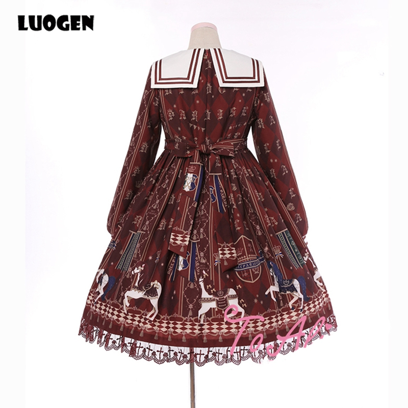 7f9da02d706 ... Japanes Vintage Royal Horse Print Cute Women s Lolita Dress Autumn Long  Sleeve Chiffon Sailor Collar One ...