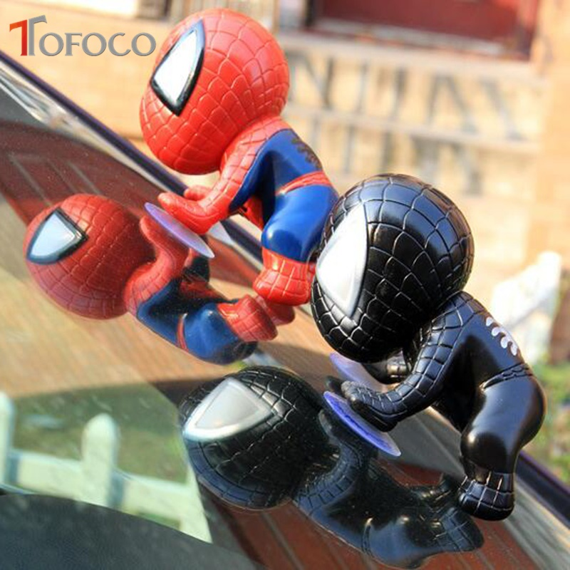 TOFOCO Kawaii Red/Black Sucker Spiderman Vinyl Doll Q Version Anime Spider-man Figure Homecoming Collectible Model Doll Toy