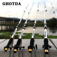 GHOTDA Fest 2,7/3,6/4,5/5,4/6,3 Meter Hand Pole Teleskop Spinning Angelruten Fisch Bekämpfen weiß