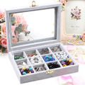 A213-2 High Grade Velvet Soft Jewelry Box Charms Pendants Storage Display Small 20*15*4.5cm 12units 430g