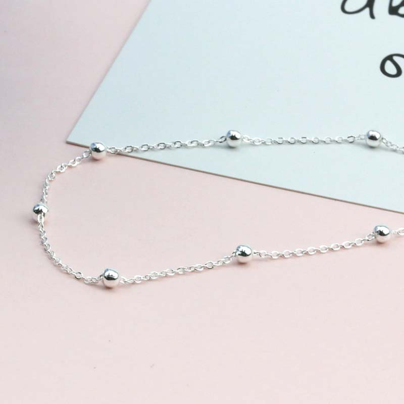 Genuine Real Pure Solid 925 Sterling Silver Anklets for Women Beach Jewelry Bohemian Round Ball Beads Female Foot Anklet Chain in Anklets from Jewelry Accessories