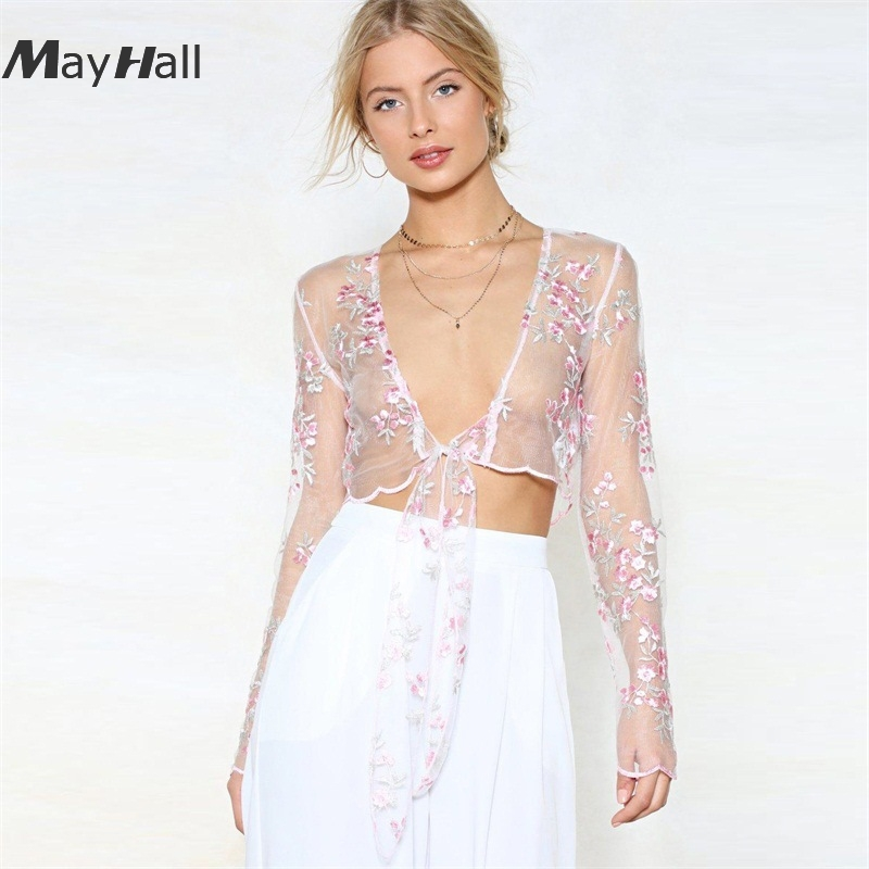 MayHall White Lace Embroidery Blouse Long Sleeve Cropped Sexy See Througth Tie Up Mesh Shirts Transparent roupa feminina MH314 in Blouses amp Shirts from Women 39 s Clothing