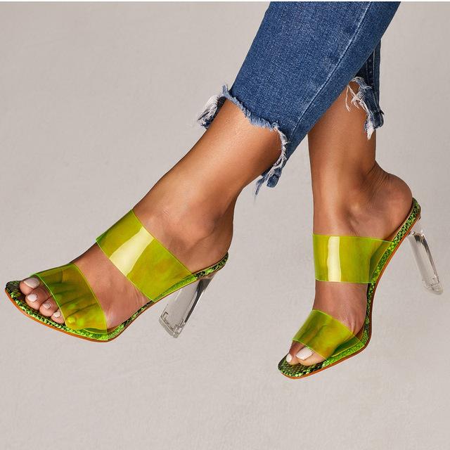 2019 Snakelike Sandals Crystal Open Toed High Heels Women Transparent Heel Sandals Slippers Pumps 11CM Big Size 41 42