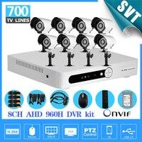 8ch AHD 960 H HVR видеорегистратор NVR безопасности Камера Системы 700TVL открытый Камера 1 ТБ HDD комплект видеонаблюдения Товары теле и видеонаблюден