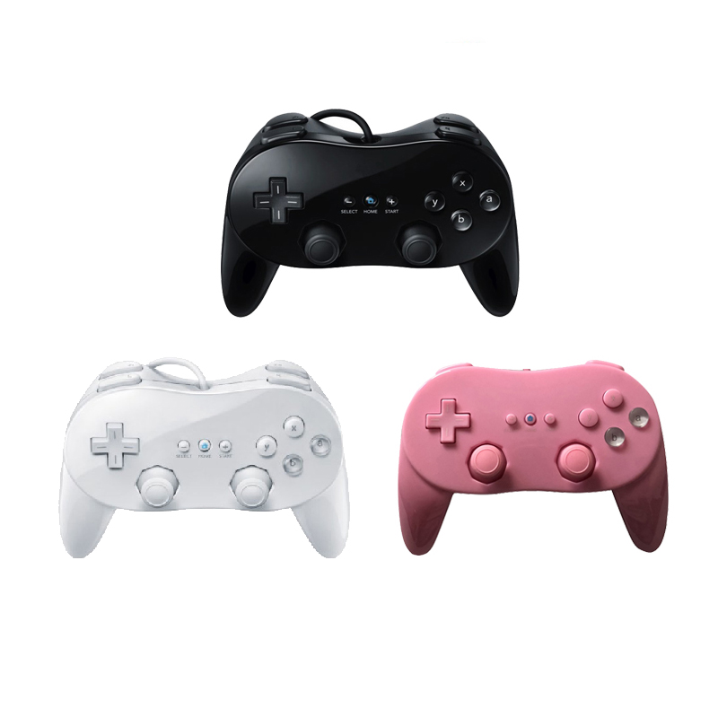 Remote-Game-Controller Gamepad Wired Wii Classic Nintendo Gaming-Pro for White/black