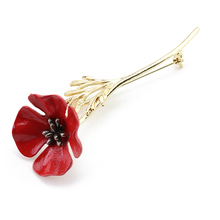 Red Poppy Flower Collar Pins