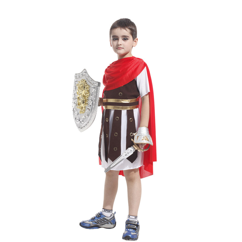 Kids Child Roman Warrior Costume Spartan Gladiator Soldier Costumes for Boys Carnival Purim Halloween Cosplay 2