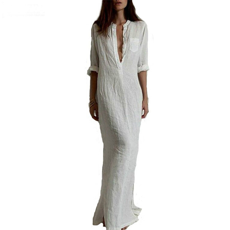 Autumn High Quality Linen Vestido Women Dress Deep V Neck Ropa Mujer Maxiskit Solid Maxi Dress Plus Size American Apparel S195