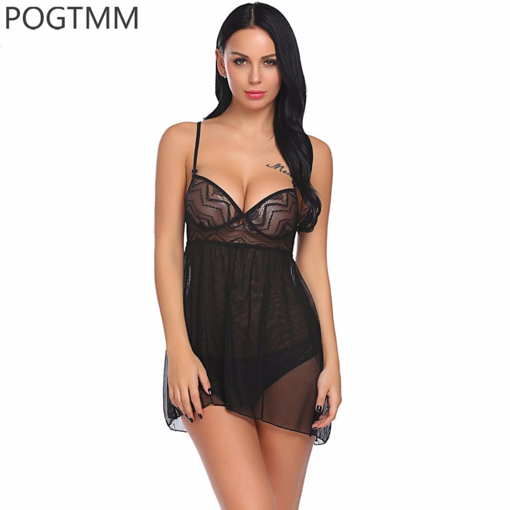 Sexy Nightwear Sleepwear Women Deep V Neck Sheer Lace Nightgown Mini Night Wear Baby Doll Dress Ladies Short Nighty Chemise XXL