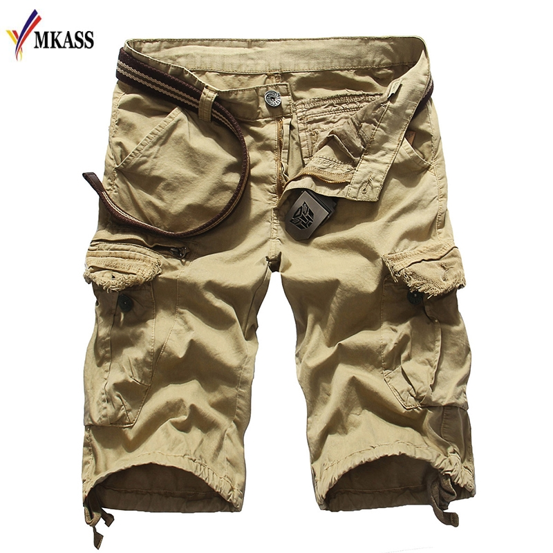 New 2018 Men Cargo Shorts Casual Loose Short Pants 3 Colors Military Summer Style Knee Length Plus Size 31-38