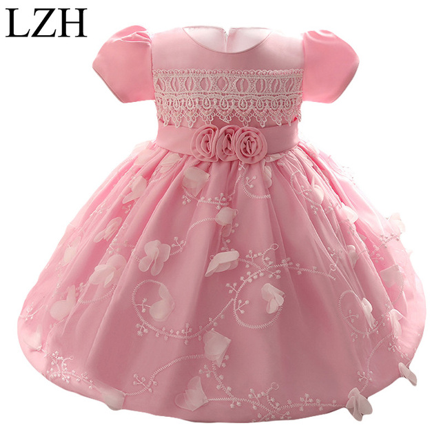 LZH Baby Girls Dress 2017 Kids Girl Princess 1 Year Birthday Party Tutu Dress For Baby Costume Infant Christening Dress 0-2 Year