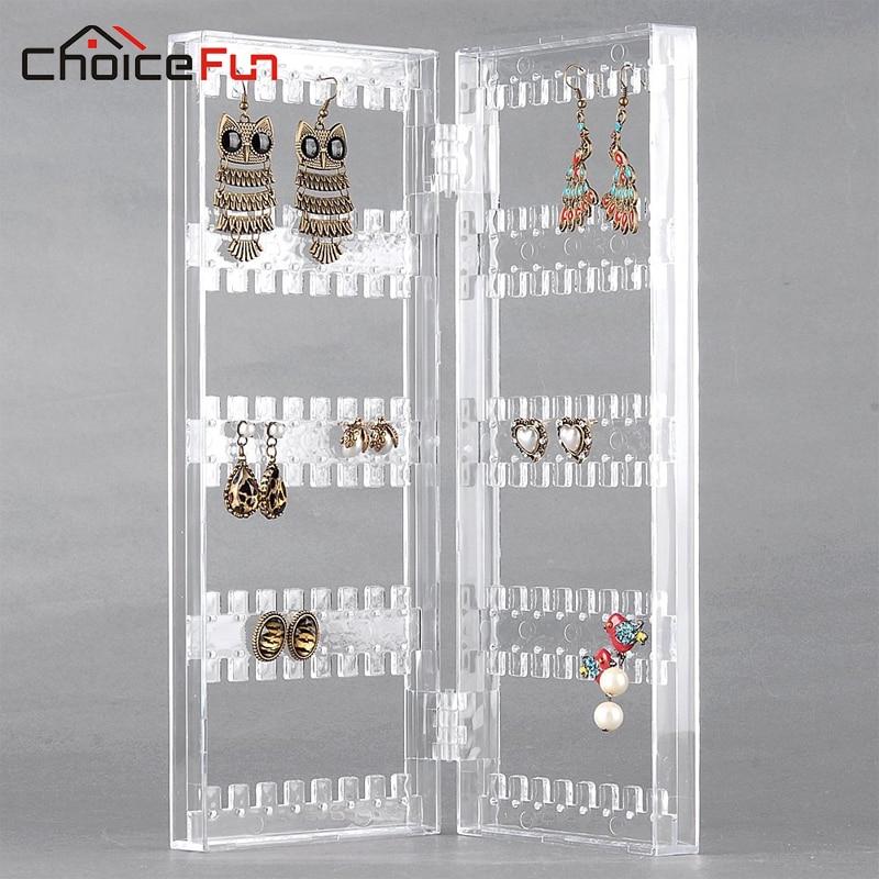 Choicefun فتاة 2 باب المنزل مكتب الاكريليك شنقا حامل المنظم عرض واضح مجوهرات مجوهرات حلق التخزين للمجوهرات