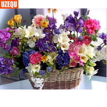 hot deal buy diamond mosaic 5d diy diamond painting flower cross stitch floral baskets diamond embroidery full round painting rhinestone kits