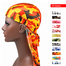 Unisex  Gamouflage Gilding Floral Laser Silky Bandana Hat Durag hip hop headwrap Bandanas Doo DU-RAG Long Tail velvet