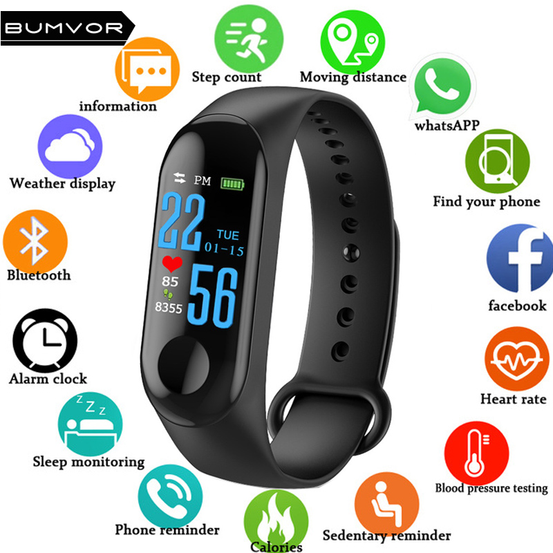 BUMVOR font b Smart b font Bracelet Color Screen Blood Pressure Fitness Tracker Heart Rate Monitor