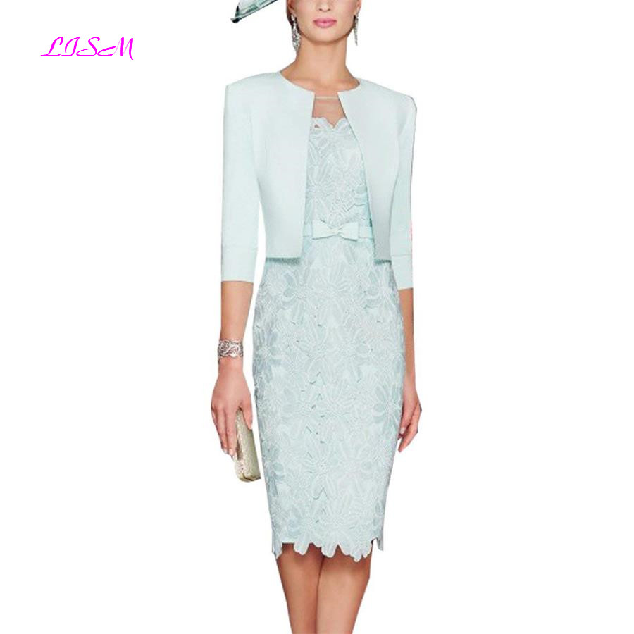 Mint Green Knee Length Mother Dresses With Jacket Lace