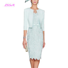 Mint Green Knee Length Mother Dresses with Jacket Lace Appliques Mother of the Bride Dress Elegant Evening Formal Gowns