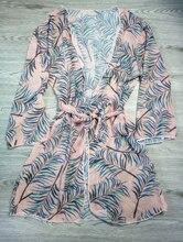 2019 Pareo De playa De hoja De impresión Bikini traje De mujeres traje De Plage Cardigan traje De baño cubierta ups