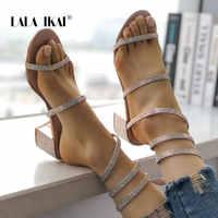 ララ IKAI 女性靴 2018 春夏新作クリスタル蛇行巻剣闘士 Med ヒールロングストラップサンダル 014A2041-4