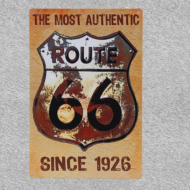 US $4 74 5% OFF|Retro Metal Poster Gas Station US Route 66 Tin Signs  Vintage Home Decorative Bar Pub Wall Decor Metal Car Sticker 20X30CM-in  Plaques &
