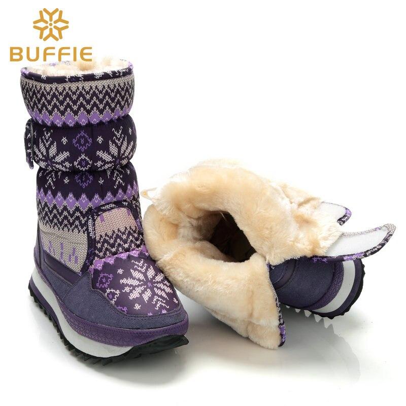 e12354e83ce Botas de las mujeres impermeables de invierno zapatos de nieve botas de  piel de felpa caliente