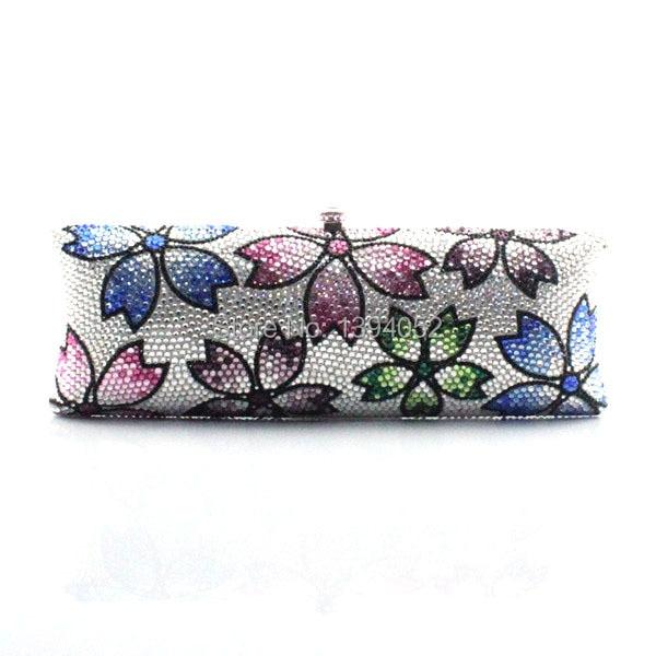 Ladies Party Clutch Rhinestone Handbag flower pattern colorful evening bags women bags
