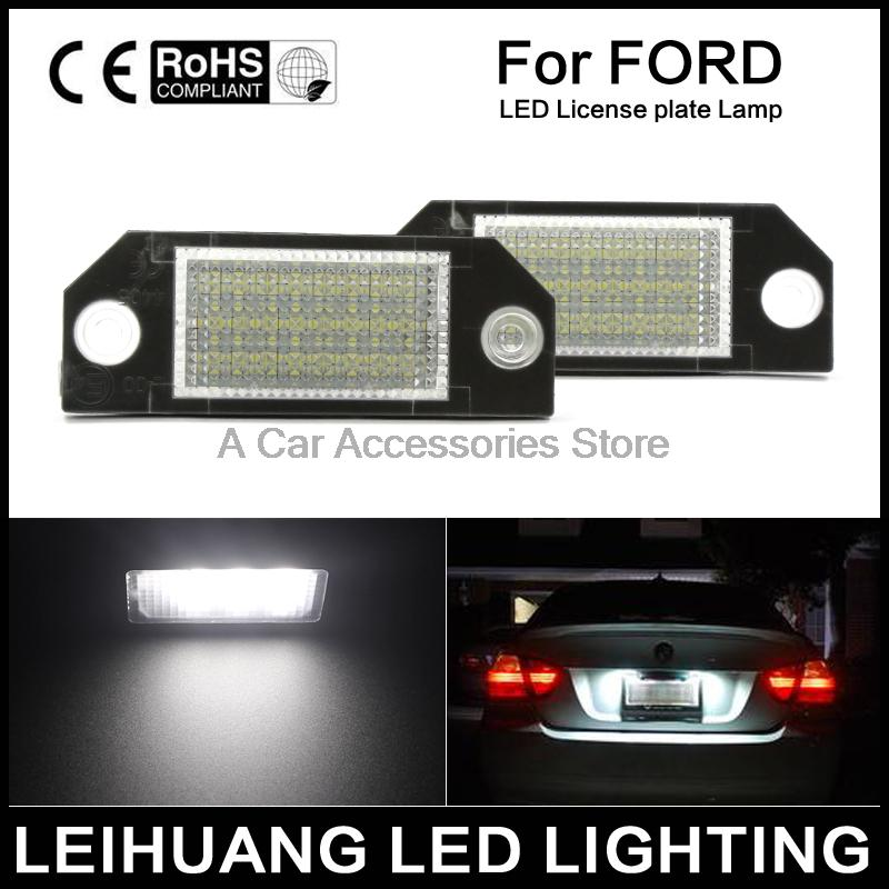 2pcs Car LED License Number Plate Light Lamp 6W 12V 24 LED White Light fit for Ford Focus 2 C-Max hopstyling 2pcs direct fit white 18 smd car led license plate light lamp for nissan teana j31 j32 maxima cefiro number light