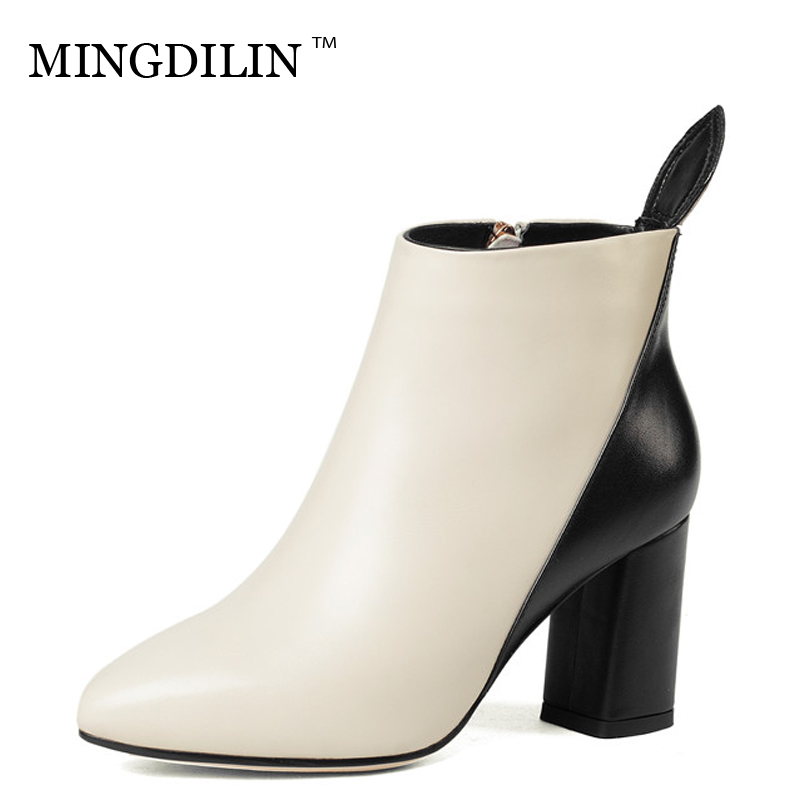 MINGDILIN Winter Women's High Heels Chelsea Boots Genuine Leather Ankle Boots Plus Size Genuine Leather Woman Gothic Shoes 2018 игровой набор огонек доспехи витязя