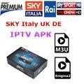 Caja androide Con IPTV APK Sky Italia REINO UNIDO Alemania Canales Sky Mediaset Primafila Premium Para Smart TV M3U IOS Linux Enigma2 envío