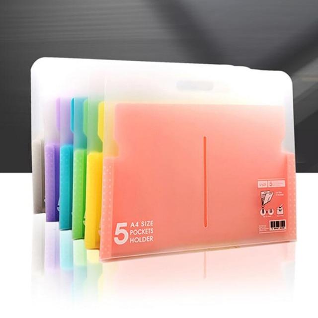 Multi-couche PP 6 couleur dossier A4 étudiant orgue fichier plastique papier données sac produits de classement 5 index document sac