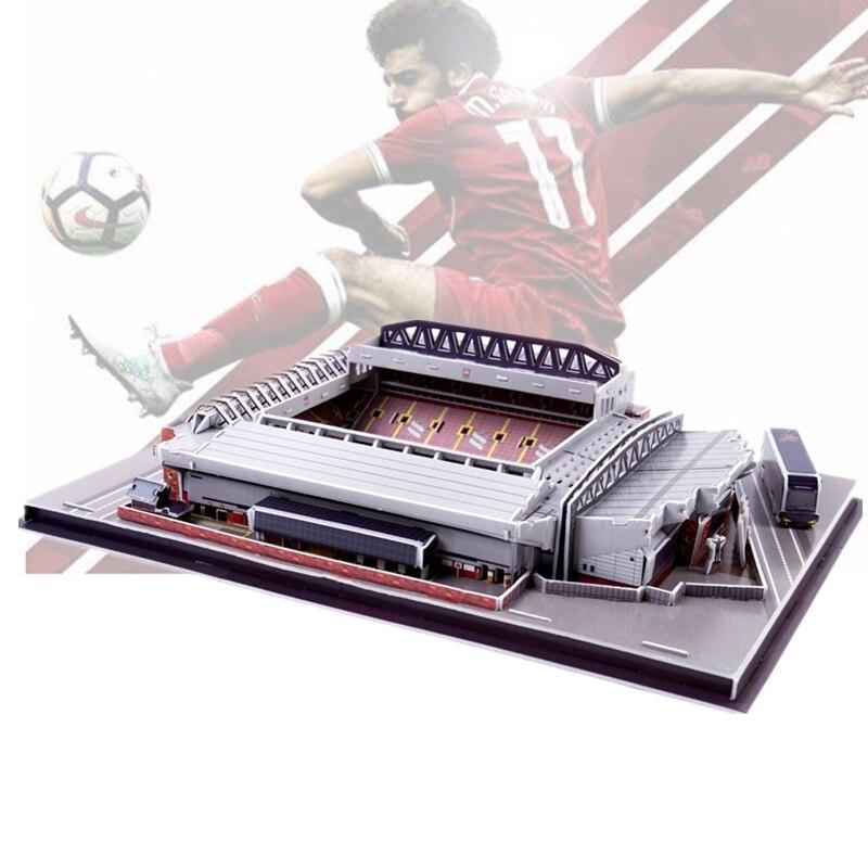Clásico Jigsaw 3D puzle Architecture Inglaterra Anfield el juego de estadios de fútbol rojo juguetes báscula modelos conjuntos de papel de construcción