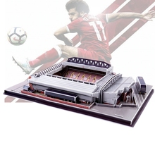Clássico quebra cabeça 3d inglaterra anfield arquitetura os vermelhos estádios de futebol brinquedos modelos de escala conjuntos de papel de construção