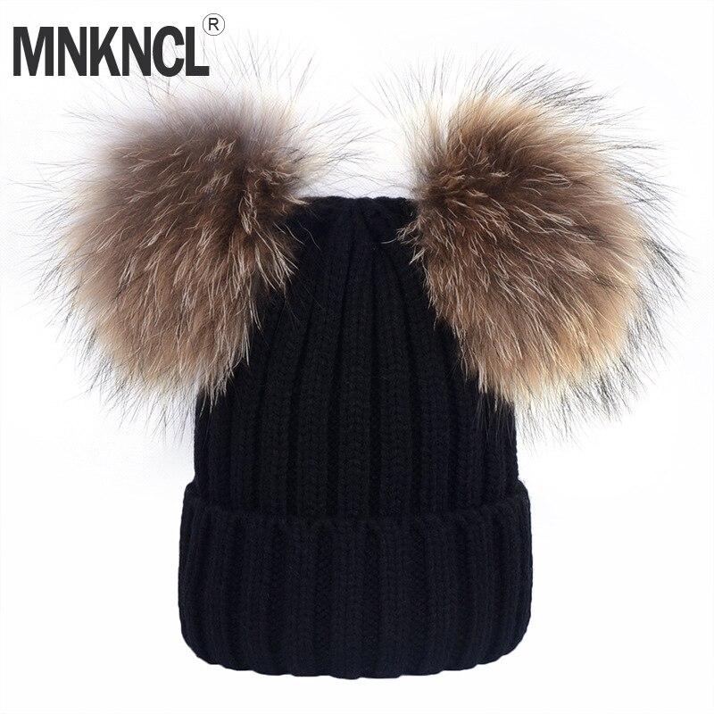 MNKNCL Real Mink Fur Pompom Hat Women Winter Caps Knitted Wool Hats Two Pom Poms   Skullies     Beanies   Bonnet Girls Female Cap