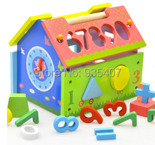 Baby geometry box digital small house wisdom  old fancy/wooden toys