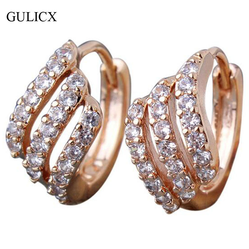 GULICX Fashion Lady Earing Gold color Hoop Earrings luxury Jewelry Round Crystal Cubic Zircon Wedding Jewelry E156