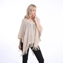 Hot selling plain new hollow out designer acrylic lightweight autumn poncho stole knitted scarf capes  LL190530