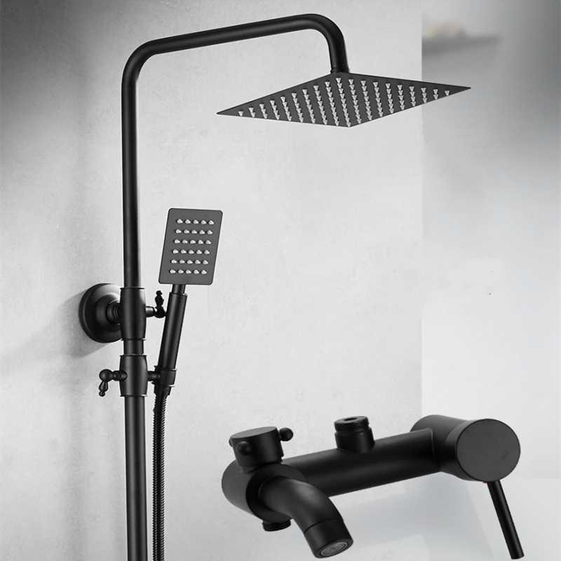 Mosiądz matowy czarny zestaw prysznicowy łazienka kran wodospad ścienny deszcz system prysznicowy zestaw pojedynczy uchwyt bateria prysznicowa
