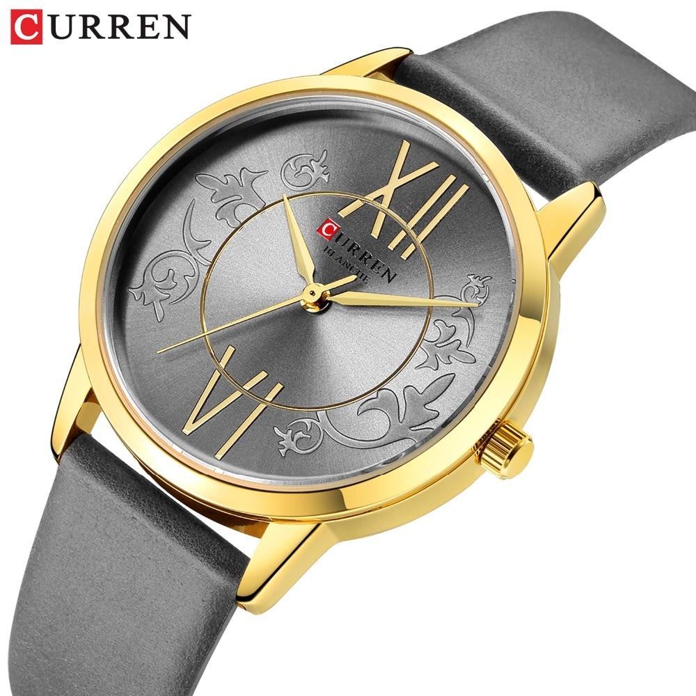 New Fashion Analog Quartz Watches Top Brand CURREN Women's Watch Casual Clock Ladies Leather Wristwatch Bayan Kol Saati 9049