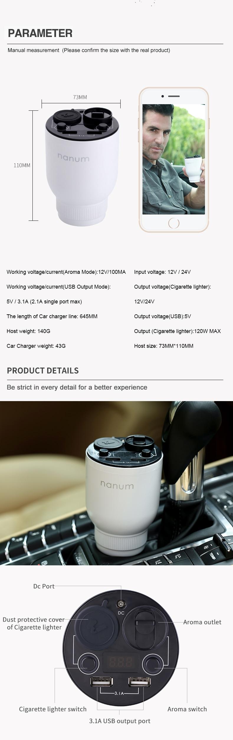 Car Aroma Cup Car Humidifier Car Charger Aroma Diffuser Car Energy Cup Car Air Purifier  (6)