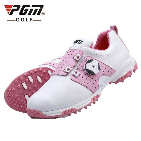 Sapatos de Golfe de Couro Macio à Prova Tênis de Treinamento Mulher Dwaterproof Água Esportes Sapatos Botões Fivela Cadarço Anti-deslizamento D0475 Pgm