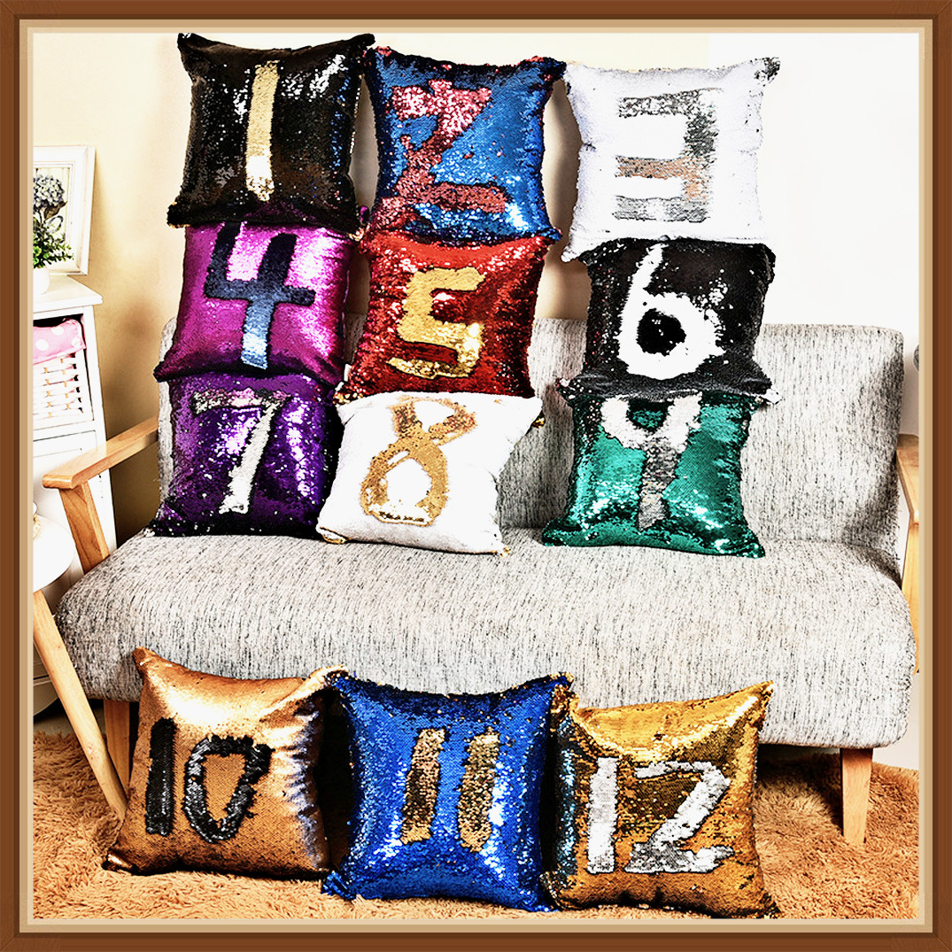 Meijuner New Reversible Glitter Mermaid DIY Sequins Cushion Cover Throw Pillow Cushion Cover Car Home Sofa Decoration Pillowcase