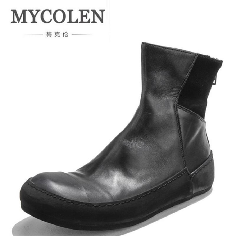 MYCOLEN Winter Mens Martin Boots Luxury Brand Leather Zipper Casual Shoes Handmade Thick Bottom Ankle Boots For Men Botte Homme