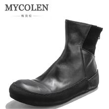 ФОТО mycolen winter mens martin boots luxury brand leather zipper casual shoes handmade thick bottom ankle boots for men botte homme